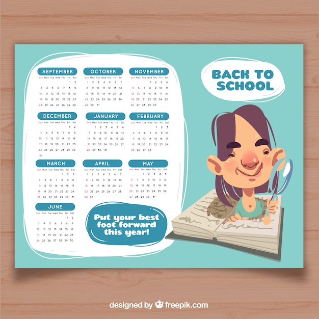 School calendar 2017, light blue