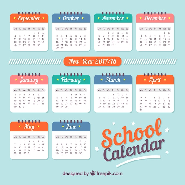 School calendar 2017, retro style