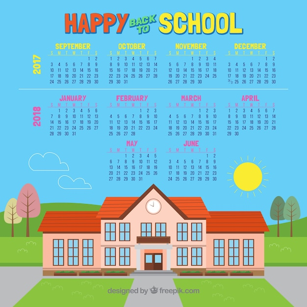 School calendar and  school building