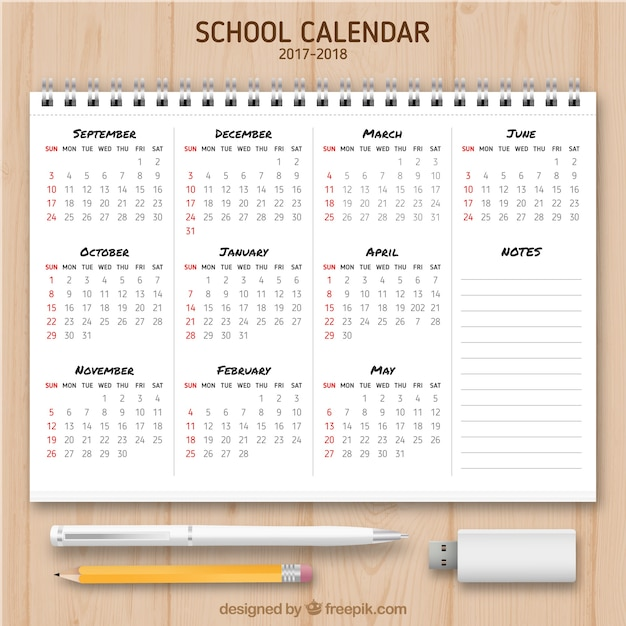 School calendar in a notebook
