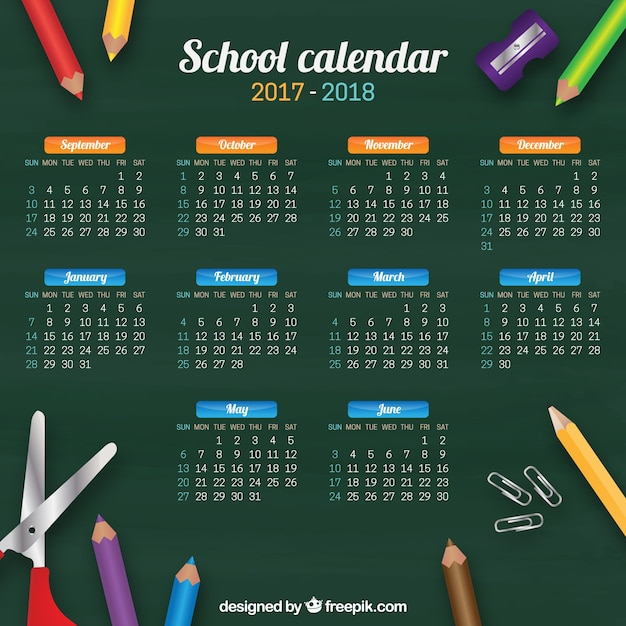 School calendar of blackboard and crayons