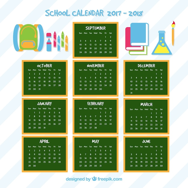 School calendar of blackboards and elements