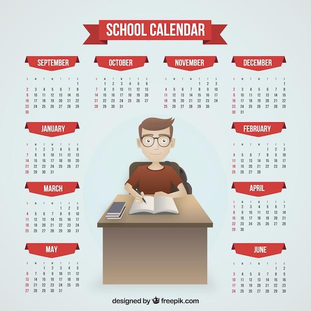 School calendar of boy studying