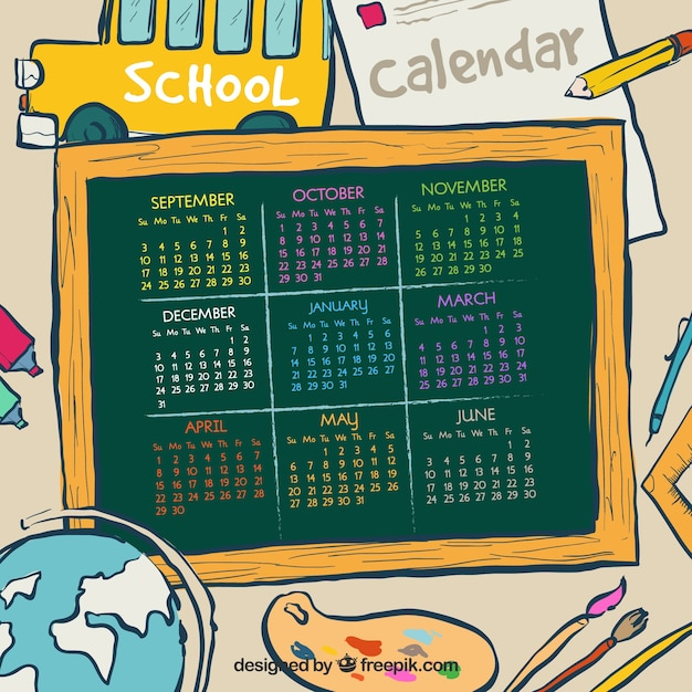 School calendar of materials drawings and blackboard
