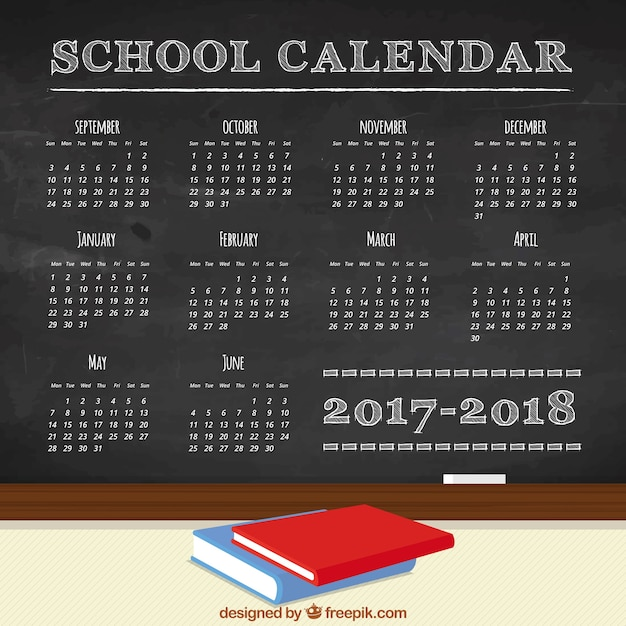 School calendar on a blackboard
