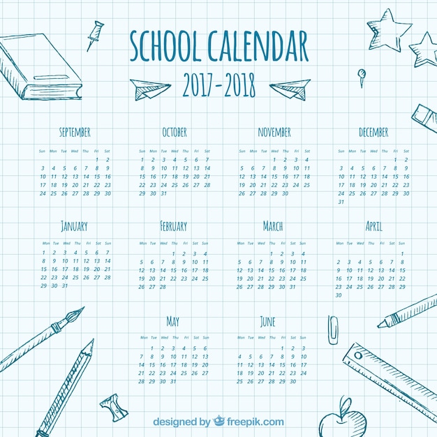 School calendar on a notebook sheet