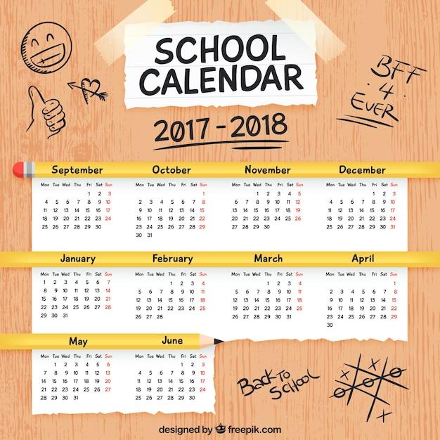 School calendar on a table