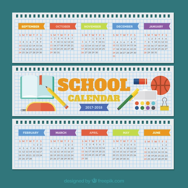 School calendar on spiral notebook papers