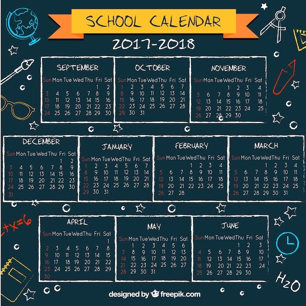 School calendar on the blackboard with fun style