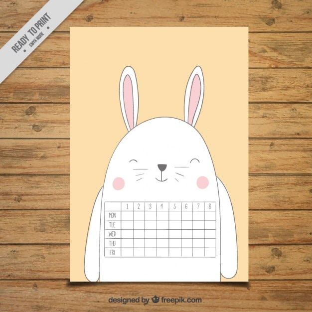 School calendar in the shape of a rabbit Free Vector