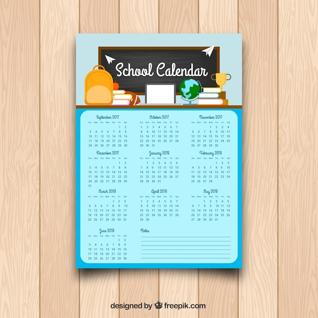 School Calendar Template In Flat Design Vector  Free Download