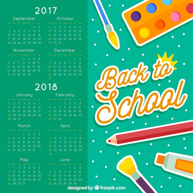 School calendar with artistic materials