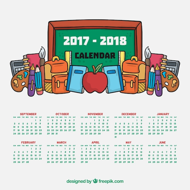 School calendar with blackboard and hand drawn materials