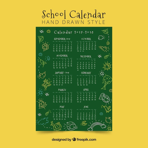 School calendar with blackboard and sketches