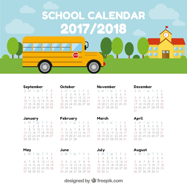 School calendar with bus and building