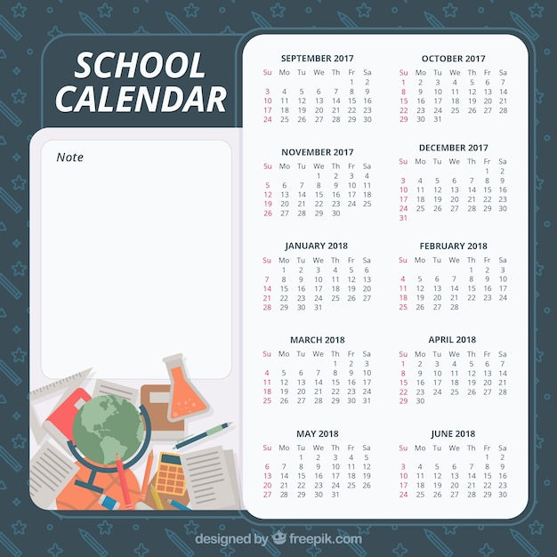 School calendar with classic school materials