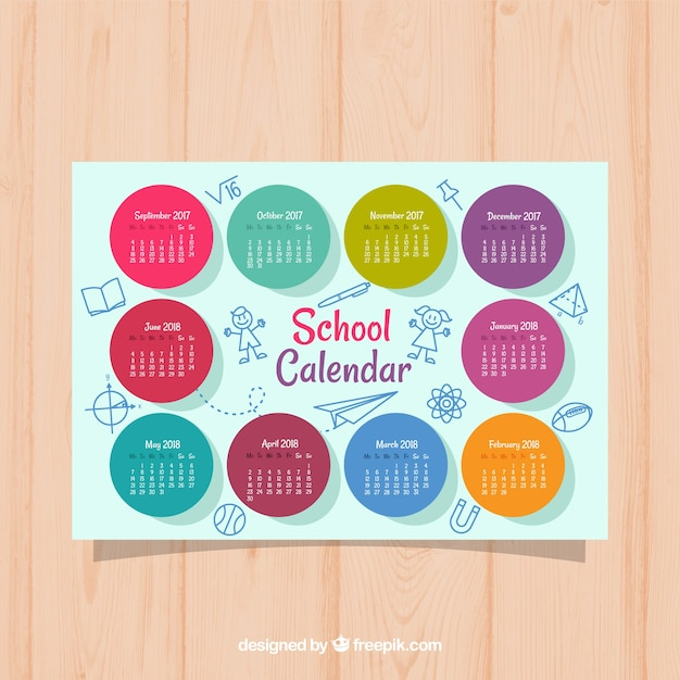 School calendar with colorful circles