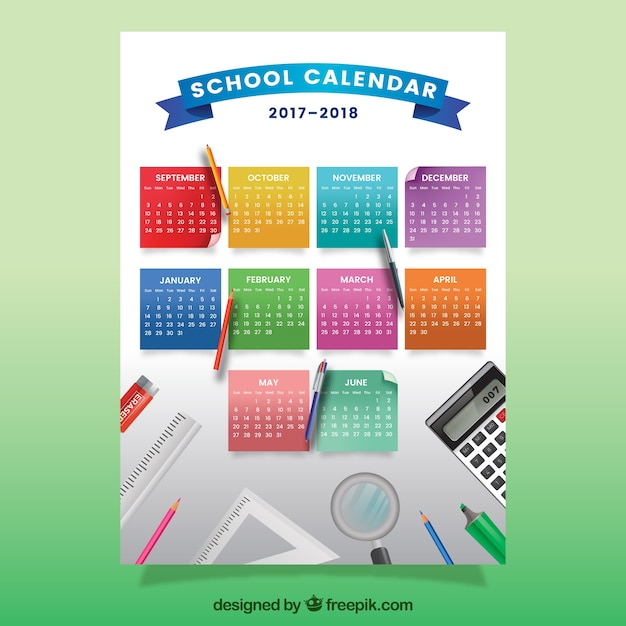 School calendar with colorful notes