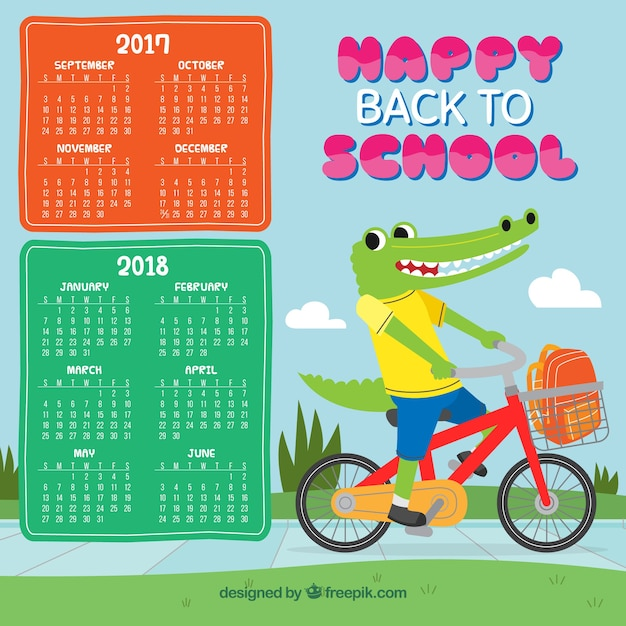 School calendar with crocodile riding bicycle