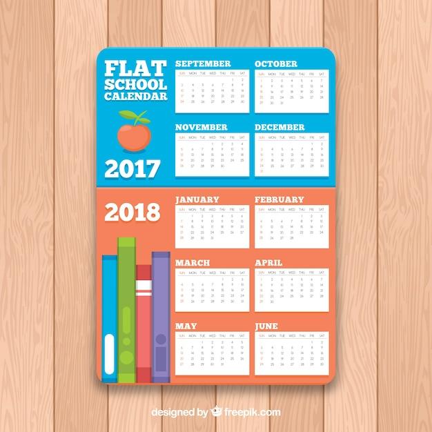 School calendar with elements in flat design