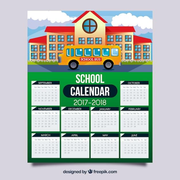 School calendar with facade of school