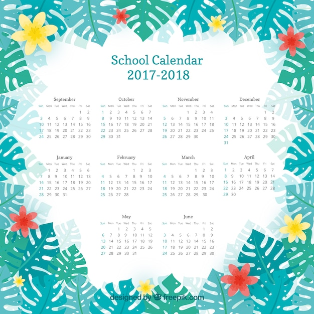 School calendar with floral frame