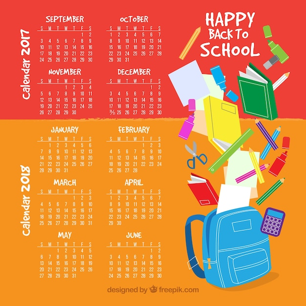 School calendar with fun style
