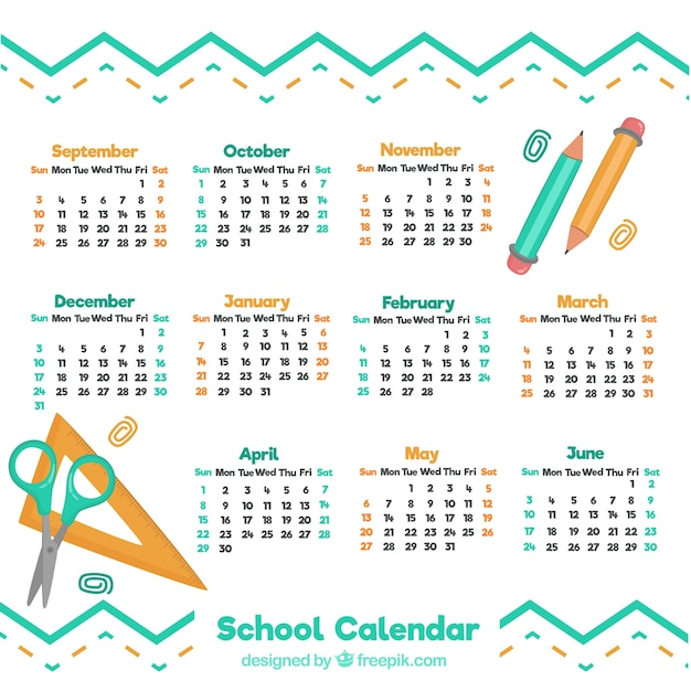 School calendar with hand drawn materials