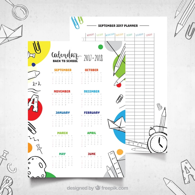 School calendar with hand drawn style