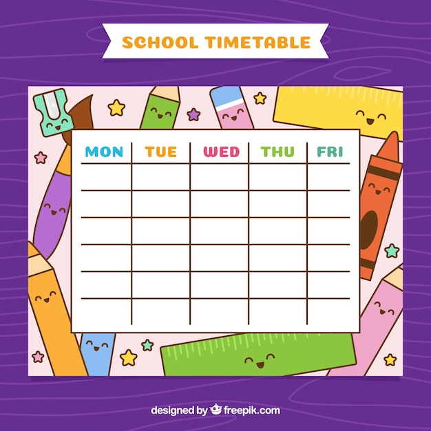 School calendar with material drawings
