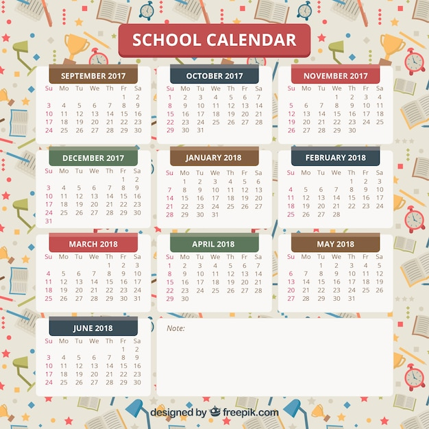 School calendar with materials at the background