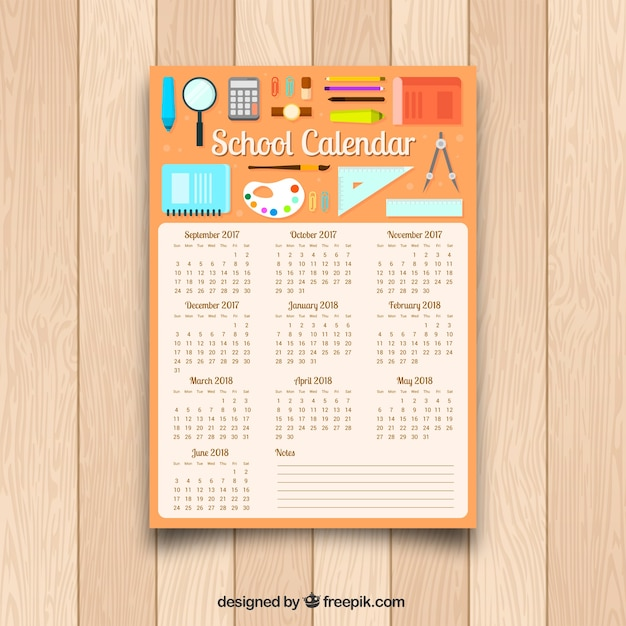 School calendar with materials in flat design