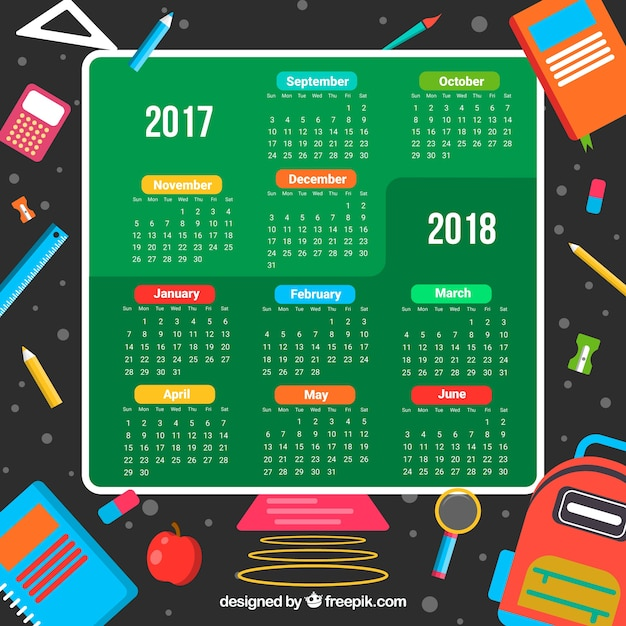 School calendar with materials in the space