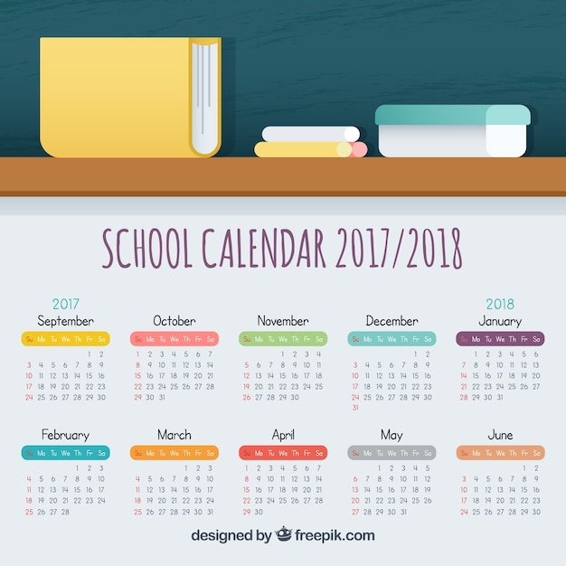 School calendar with modern style
