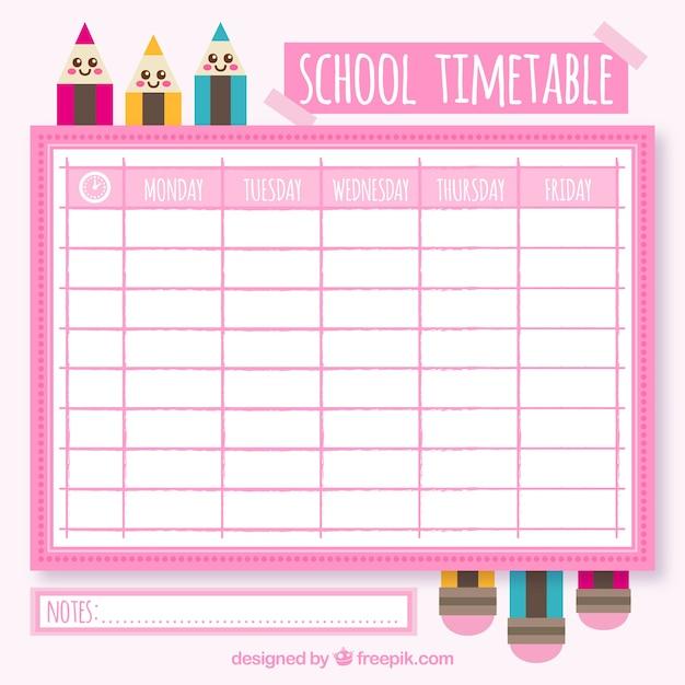 School calendar with pencils in flat design