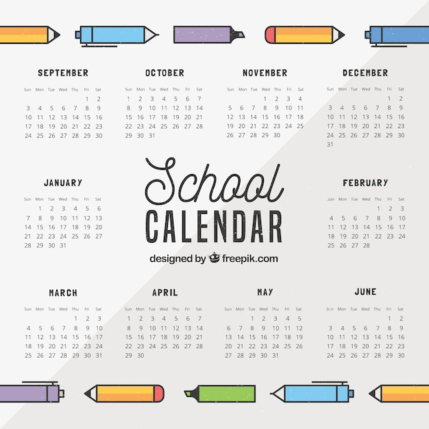 School calendar with pens and markers