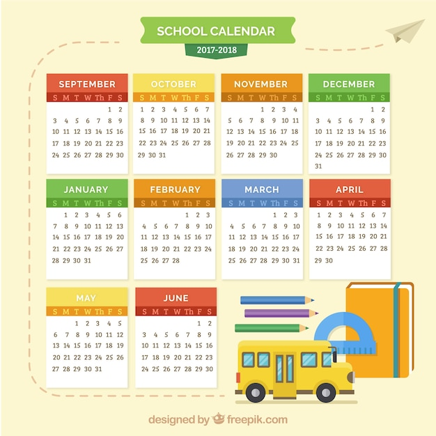 School calendar with school bus and materials