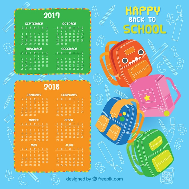 School calendar with set of backpacks
