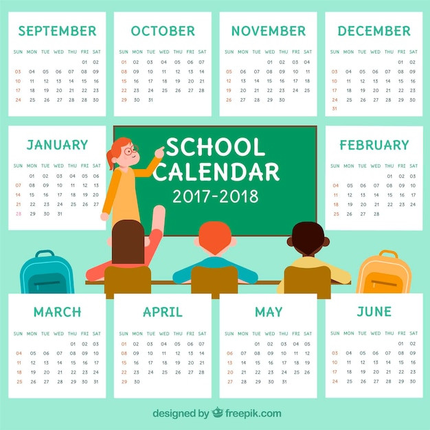 School calendar with teacher and\ students