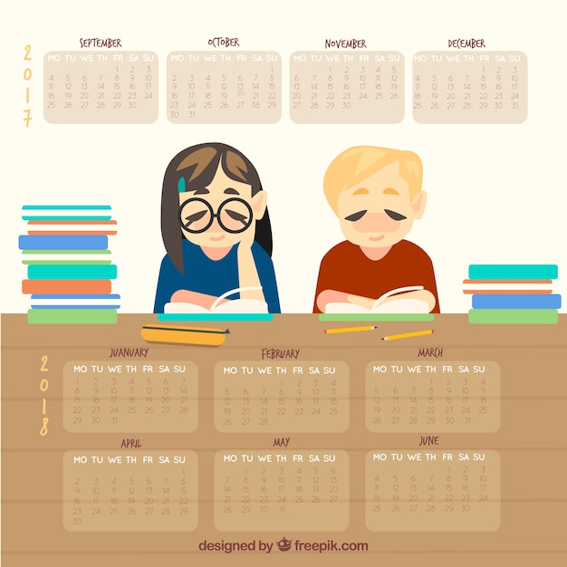 School calendar with two students