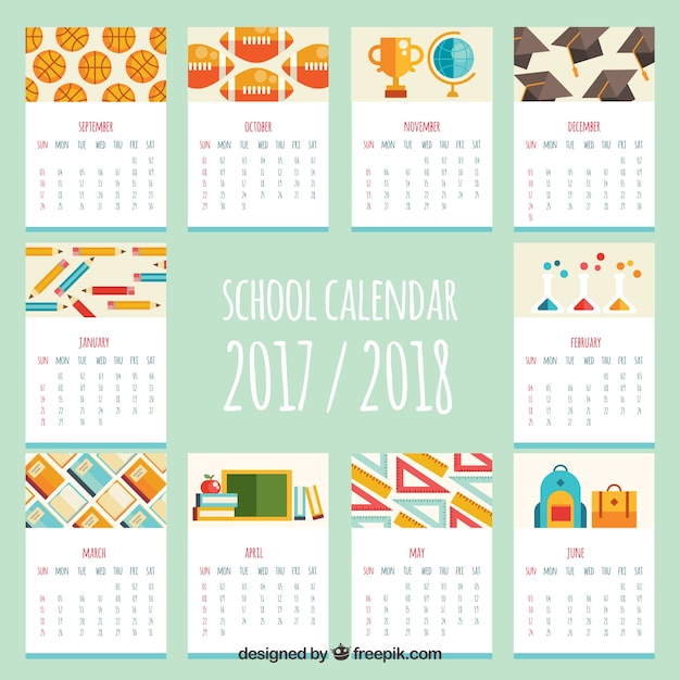 School calendar with variety of flat materials