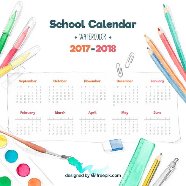 School calendar with watercolor materials Free Vector