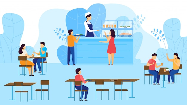 School canteen, cafeteria, children take tray with food, eating at tables, catering restaurant cartoon  illustration. Premium Vector