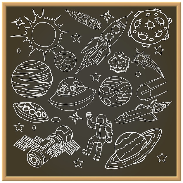 School chalk board with with outer space doodles Premium Vector