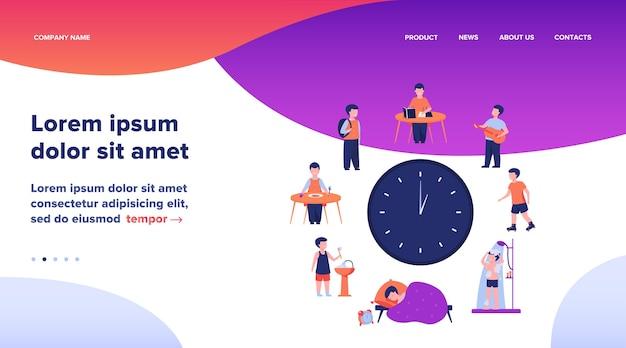 Расписание школьников. часы с детьми, спать, есть, учиться, отдыхать, принимать душ плоский векторные иллюстрации. ежедневная рутинная концепция веб-дизайна или целевой веб-страницы Бесплатные векторы