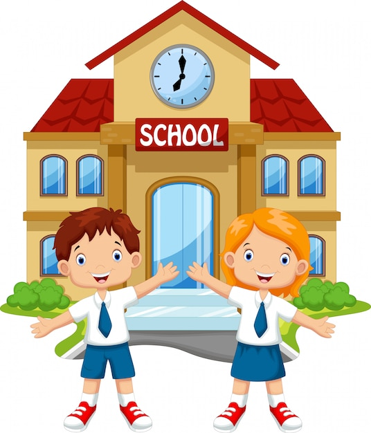 School children in front of the school building Premium Vector
