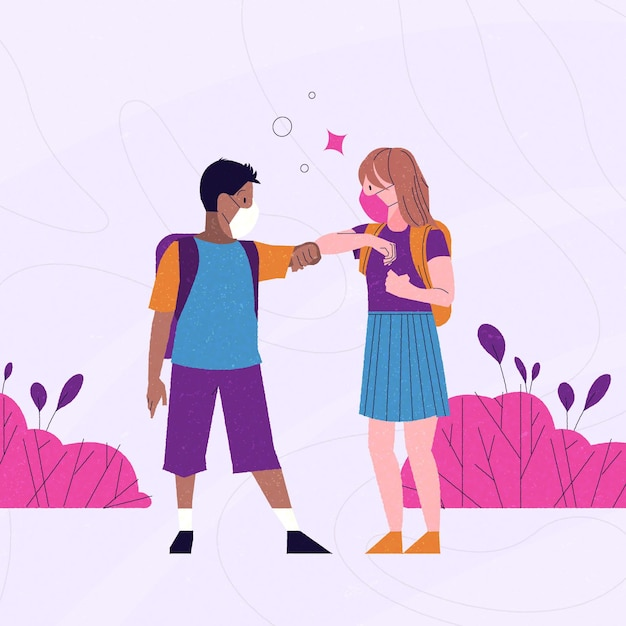 School children greeting in the new normal Free Vector