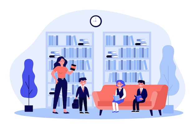 School children reading books in library. female librarian, bookshelves, pupils   illustration. education, literature, knowledge concept for banner, website  or landing web page Premium Vector