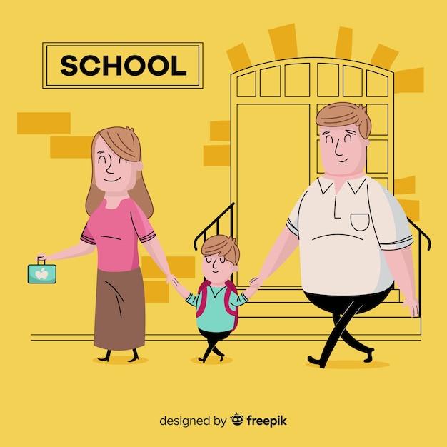 School children with parents background Free Vector