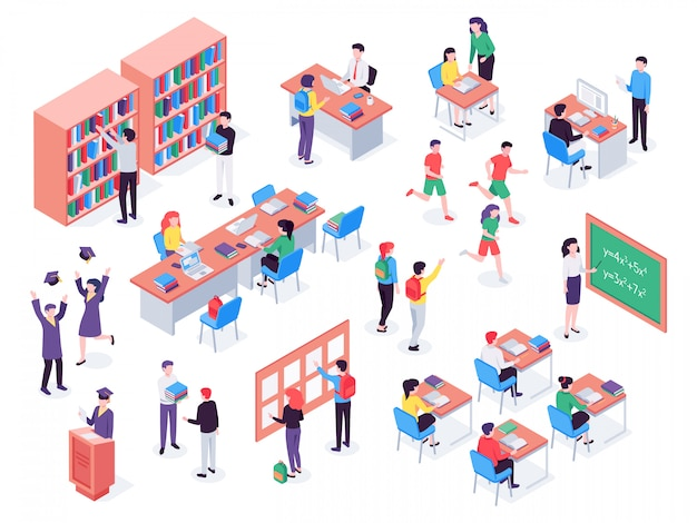 School. childrens and teacher in classroom, students in schools library and education classroom   illustration set Premium Vector